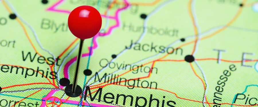 Memphis pinned on a map of Tennessee, USA